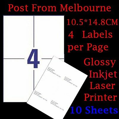 10 X A4 Glossy White 4/Page 2x2 Self Adhesive Labels Mailing Address Stickers