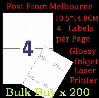 200 X A4 Glossy White 4/Page 2x2 Self Adhesive Labels Mailing Address Stickers
