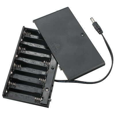 8 AA Cells Battery 12V Clip Holder Box Case with Cover ON/OFF Switch Wire Lead