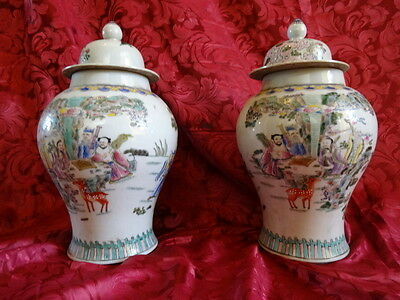 Antique Style Pair Porcelain Chinese Famille Verte Vases Ginger Jars Signed