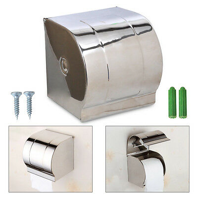 Chrome Bathroom Stainless Steel Toilet Paper Holder Roll Tissue Box Wall Mounted