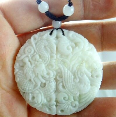 Beautiful Chinese jade hand-carved the statue of dragon and phoenix PENDANT E