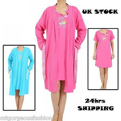 Maternity Pregnancy Set Nightdress Breastfeeding + Dressing Gown 8 10 12 14 16