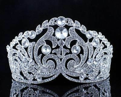 Huge Ornate Austrian Crystal Rhinestone Tiara W Hair Combs Crown Pageant T11926