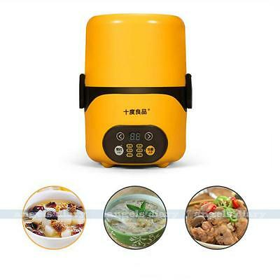 Electric Portable 1.3L Lunch Mini Rice Cooker Vacuum Seal StainlessSteel Steamer