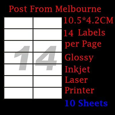 10X A4 Glossy White 14/Page 2x7 Self Adhesive Labels Mailing Address Stickers