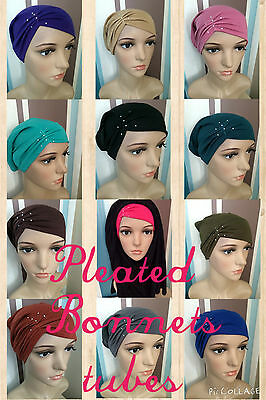 Pleated Criss Cross Diamante Tube Bonnet Hijab Underscarf Chemotheraphy Hat