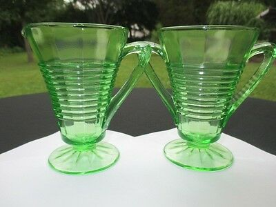 Art Deco Cone Shape Circle Hazel Atlas Green Depression Glass Creamer & Sugar