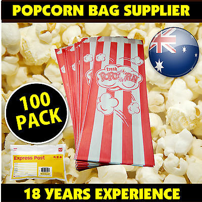 Quality Popcorn Bags *100 PACK Fetes, Events, Cinema. Suit all popcorn machines