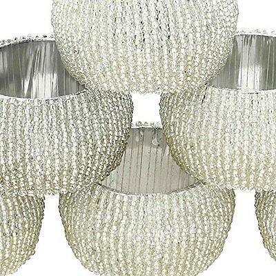 NEW Beaded Napkin Rings Set of 6 Silver Decorations Christmas Ornaments