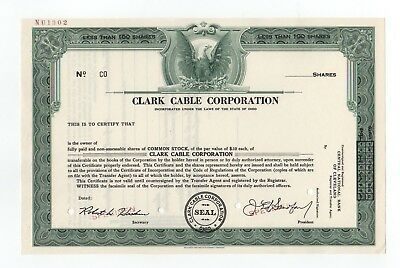 SPECIMEN - Clark Cable Corporation Stock Certificate