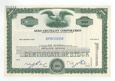 SPECIMEN - Aero-Chatillon Corporation Stock Certificate