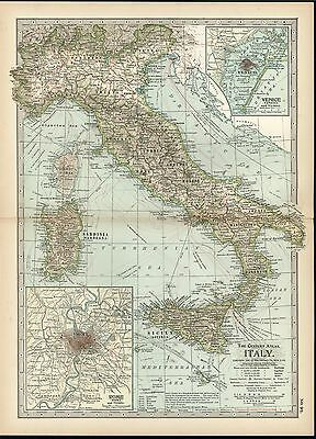 Italy showing volcanoes 1898 antique color lithograph map