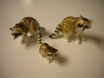 3) Vintage Bone China Miniature Raccoon Family Figurines, Detailed Matte Finish