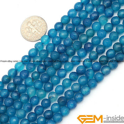 """6mm Dark Blue Agate Gemstone Faceted Round Beads For Jewelry Making Strand 15"""""""