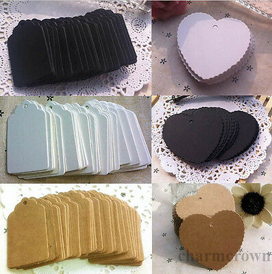 100x Kraft Paper Wedding Party Tags Favours Scallop Luggage Label Gift Card DIY