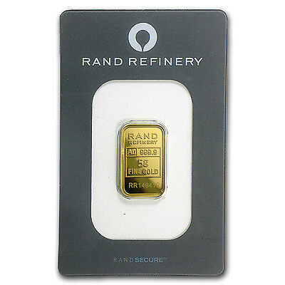 5 gram Gold Bar - Rand Refinery - Mirage (In Assay) - SKU #91451