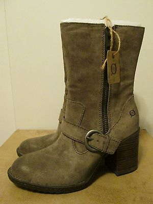 BORN TAUPE LEATHER LEATHER LEATHER Distressed Buckle Knee Stiefel 11 Worn Once CG cb8c3d