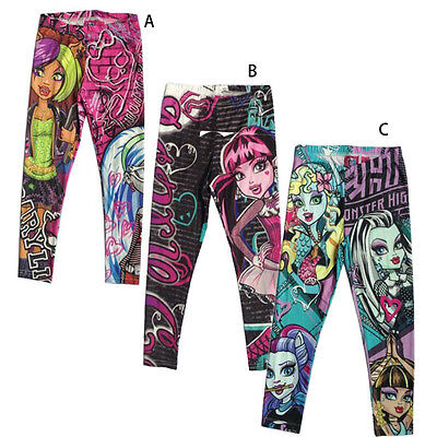 Monster High Cartoon Printed School Girls Pants Kids Trousers Clothes 6-16 Years