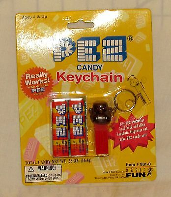 PEZ Basic Fun Gorilla Mini Key Chain Dispenser on Card 1999 MOC