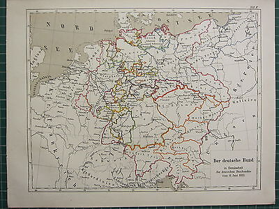 1875 Antique Historical Map ~ German Federal Acts (1815) Hanover Dresden