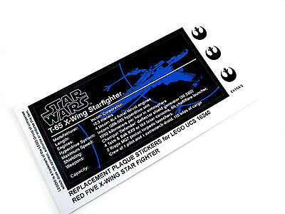 STAR WARS 'DIE CUT' REPLACEMENT PLAQUE STICKER for Lego 10240 RED FIVE X-WING ++