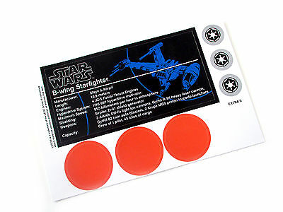 'DIE CUT' REPLACEMENT STICKERS for UCS Lego 10227 BWING STARFIGHTER ,MODELS,ETC