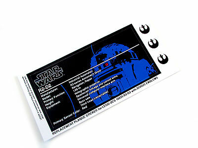 STAR WARS 'DIE CUT' REPLACEMENT STICKERS for Lego 10225 R2-D2 with BONUS EMBLEMS
