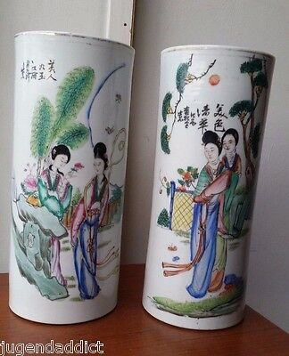 pair Large antique Chinese republic period cylinder vases porcelain 19th century