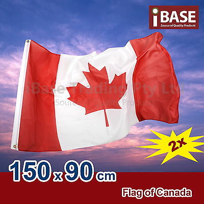2x Canada Canadian CAN National Olympics Heavy Duty Outdoor Flag 150x90cm 5x3ft