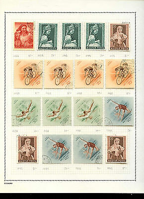 Hungary 1952-1953 Album Page Of Stamps #V3603
