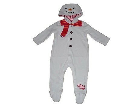 Baby Boys Girls Sleepsuit Baby Grow ALL Inn One Pyjamas Snowman Christmas