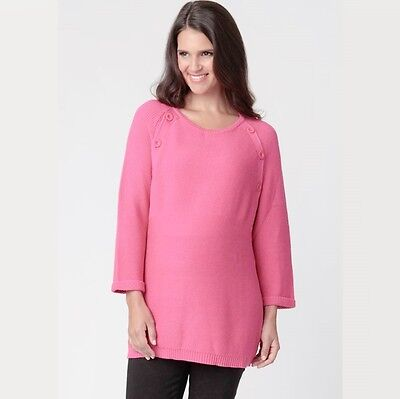 Ripe Maternity Raglan Button Knit Lollie Pink Pregnancy & Nursing 10 12 14 16