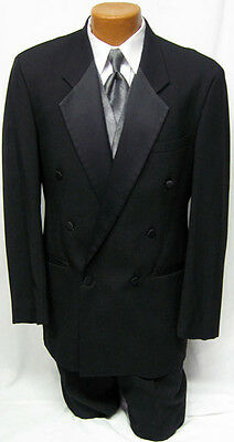 40R Mens Black Double Breasted After Six Tuxedo Jacket Discount Costume Cheap