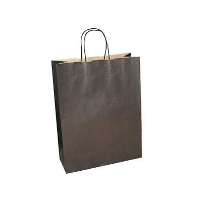 50 x Black Paper Bags with Twisted Handle - 32cm x 41cm x 12cm (LARGE)