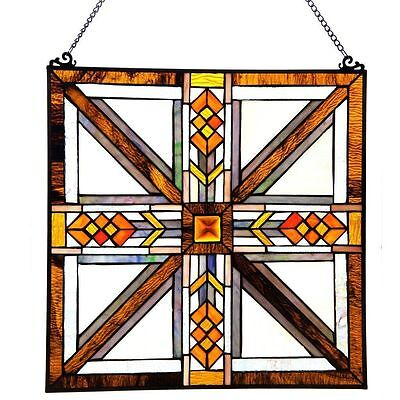 """17.5"""" Stained Glass Southwestern Mission Style Window Panel #13484 Decor Art"""