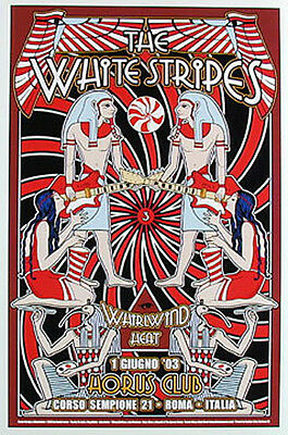 Dennis Loren Killer White Stripes Egyptian Motif Poster