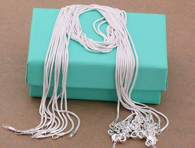 wholesale 5PCS 925 sterling solid silver 1MM snake chain necklace 16 - 30 inch