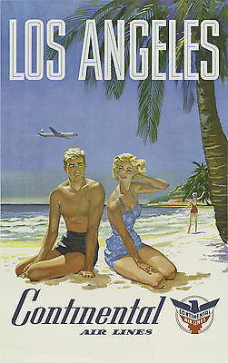 LOS ANGELES .. Continental Airlines. Retro Travel/Promotional Poster A2A3A4Sizes