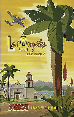 LOS ANGELES . Retro Travel/Promotional Poster A2A3A4Sizes Trans World Airlines