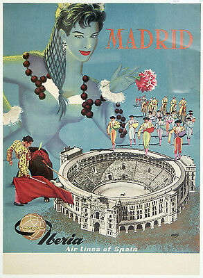MADRID .. IBERIA Airlines. Retro Travel/Promotional Poster A2A3A4Sizes
