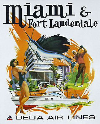 MIAMI & FORT LAUDERDALE DELTA AIRLINE.. Retro Travel/Promo Poster A2A3A4 Sizes