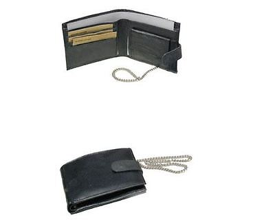 Men's Gents Soft Leather Card Notes Wallet Purse With Security Chain Black New