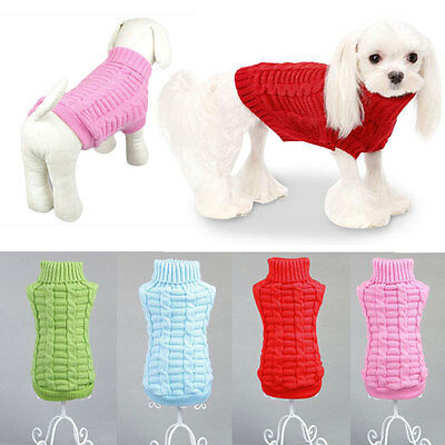 Small Pet Dog Puppy Cat Warm Sweater Clothes Knit Coat Winter Apparel Costumes T
