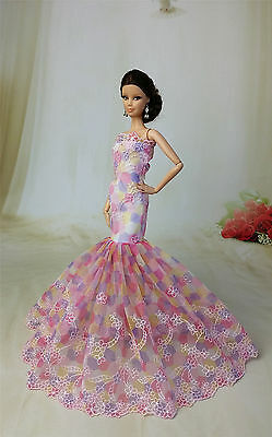 Royalty Mermaid Dress Party Dress/Wedding Clothes/Gown For Barbie Doll F44U