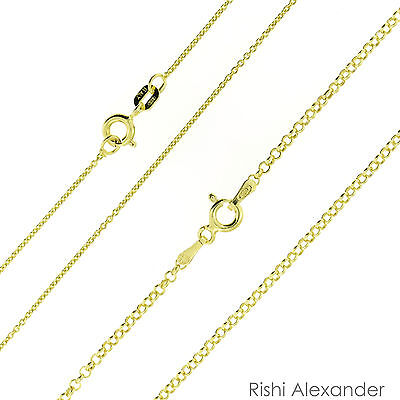 14k Gold over .925 Sterling Silver Rolo Link Chain Vermeil Stamped 925