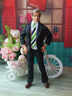 3in1 Fashion Black Suit Coat+Shirt+Pants Clothes For 12 inch Ken Doll B21