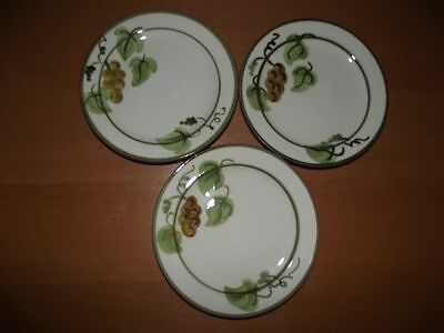 Set of 3 Stangl Golden Grape Bread and Butter Plates