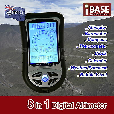 8 in 1 DIGITAL ALTIMETER COMPASS THERMOMETER BAROMETER CLOCK CAMPING HIKING