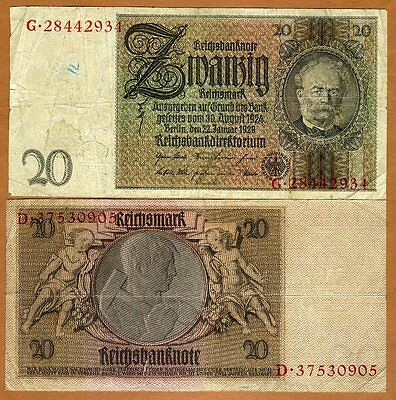 Germany, 20 Mark, 1929, P-181a, WWII, G-VG